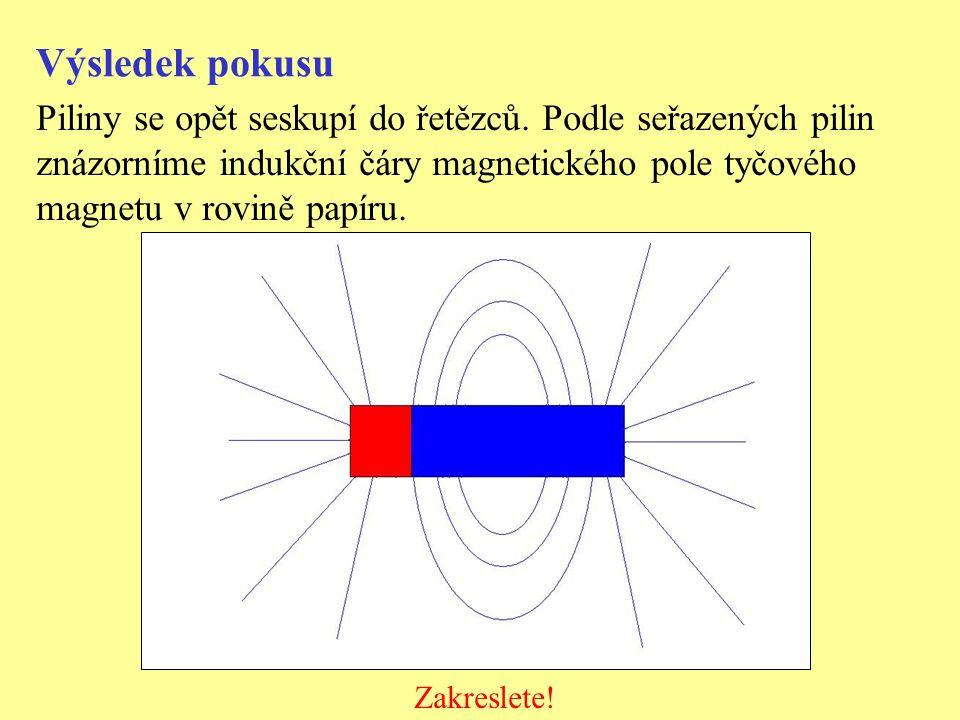 Výsledek pokusu Piliny se opět seskupí do řetězců. Podle seřazených pilin znázorníme indukční čáry magnetického pole tyčového magnetu v rovině papíru.