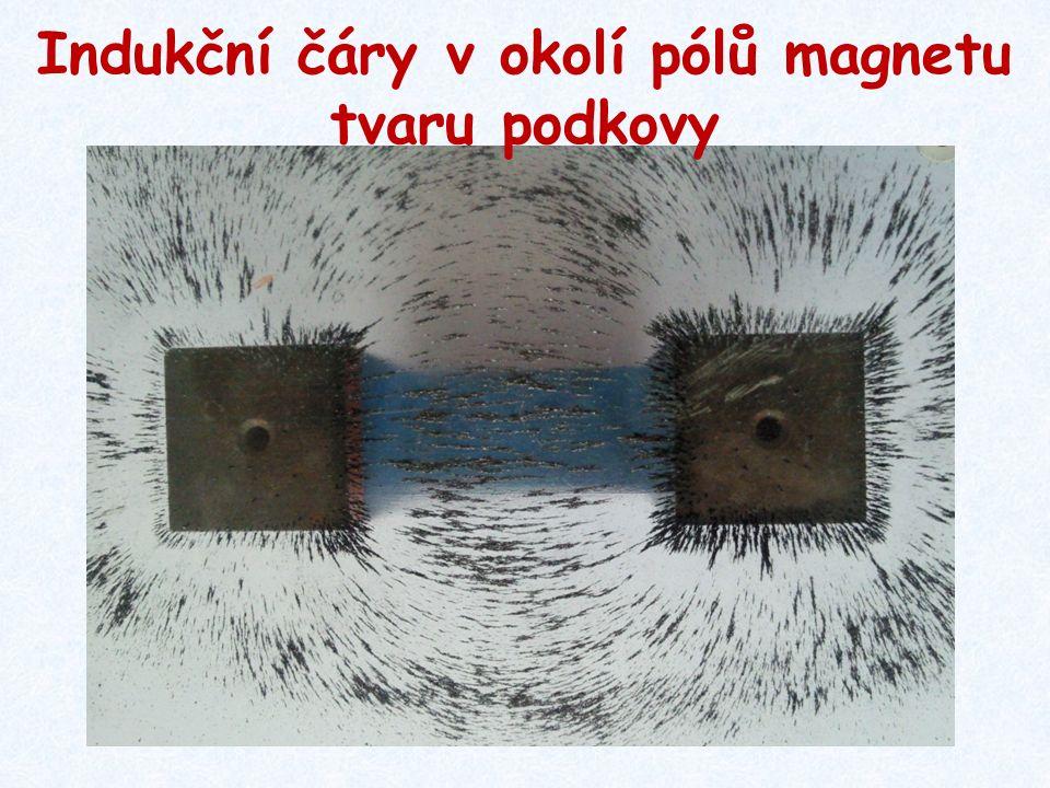Indukční čáry v okolí pólů magnetu tvaru podkovy