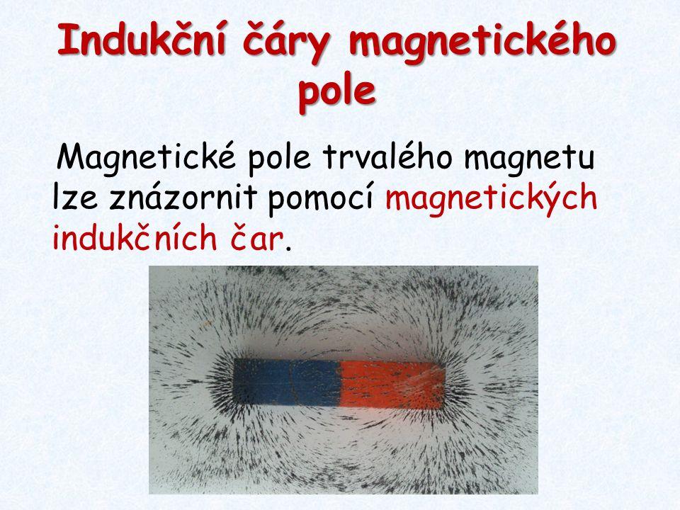 Indukční čáry magnetického pole Magnetické pole trvalého magnetu lze znázornit pomocí magnetických indukčních čar.
