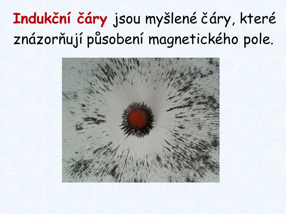 Pokus: Když okolí magnetu posypeme drobnými železnými pilinami, uspořádají se do tzv.
