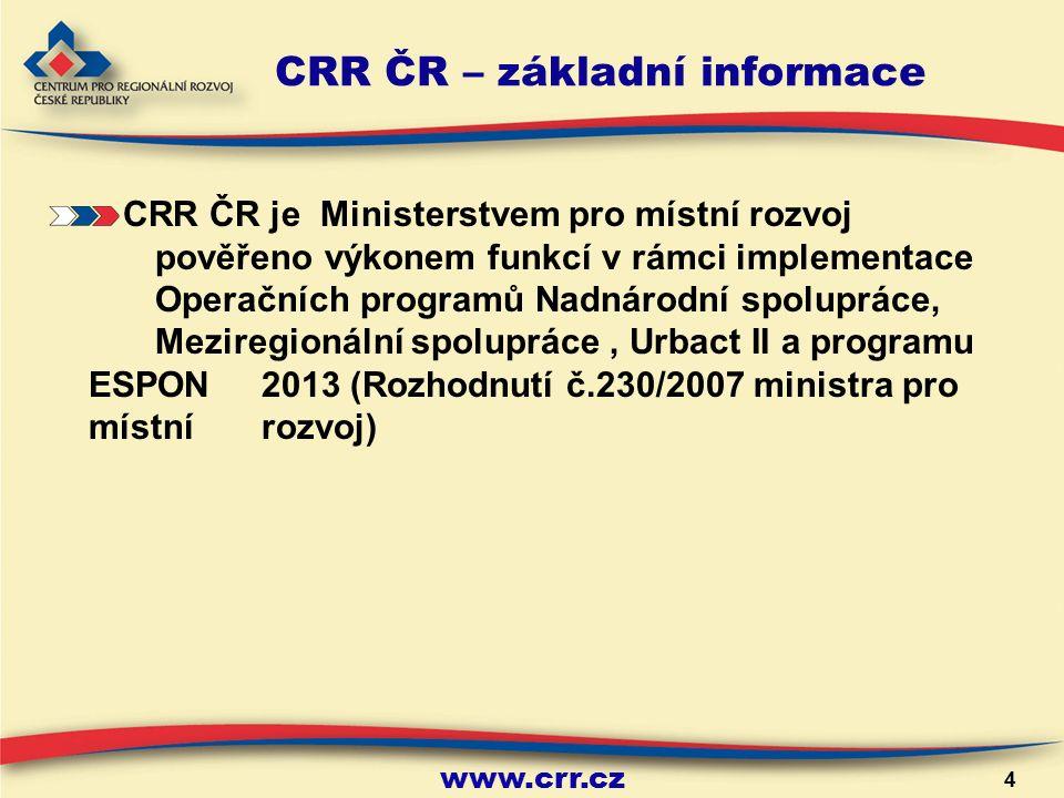 www.crr.cz 4 CRR ČR – základní informace CRR ČR je Ministerstvem pro místní rozvoj pověřeno výkonem funkcí v rámci implementace Operačních programů Nadnárodní spolupráce, Meziregionální spolupráce, Urbact II a programu ESPON 2013 (Rozhodnutí č.230/2007 ministra pro místní rozvoj)