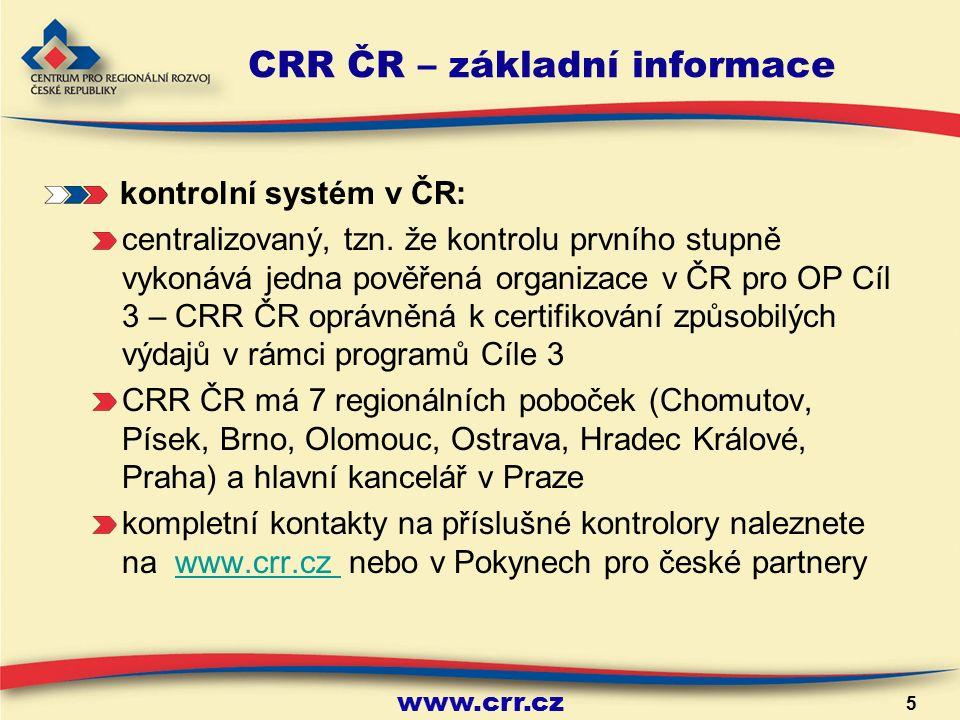 www.crr.cz 5 CRR ČR – základní informace kontrolní systém v ČR: centralizovaný, tzn.