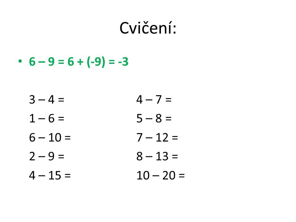 - 5 – 8 = 0 1 2 3 4 5 6 7 8910 -2 -3 -4 -5 -6 -7 -8 -9 -10 -5 – 8 = - 5 + (-8) = -13 Doplň: - 3 – 4 =- 4 – 2 = - 2 – 6 =- 7 – 2 = - 1 – 5 =- 5 – 6 = Řešení: -7-6 -8-9 -6-11 -11 -12-13