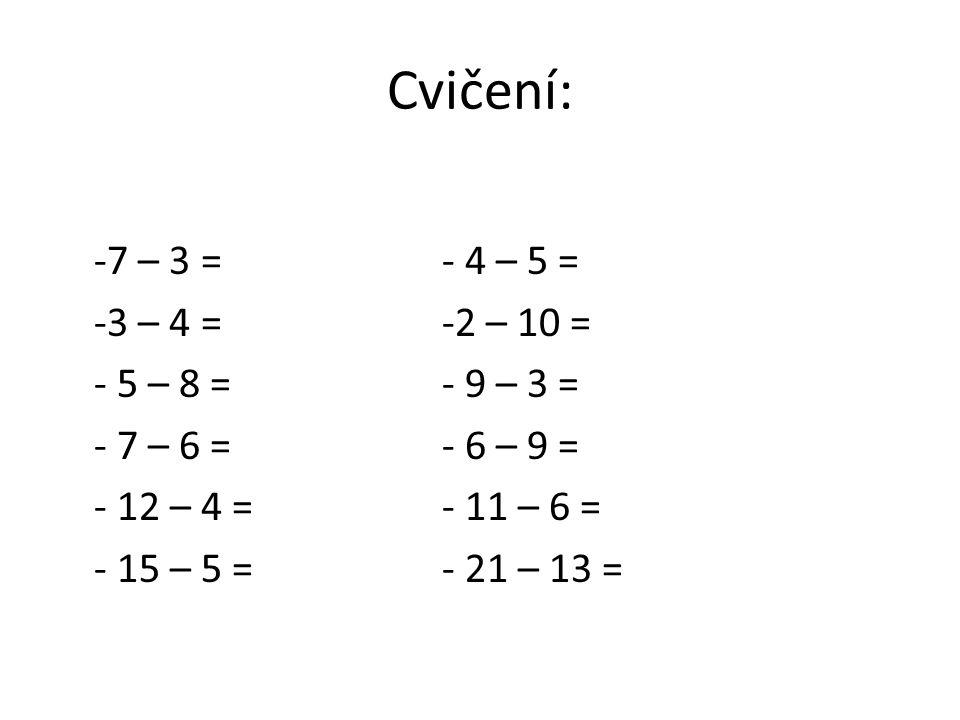 Cvičení: -7 – 3 =- 4 – 5 = -3 – 4 =-2 – 10 = - 5 – 8 =- 9 – 3 = - 7 – 6 =- 6 – 9 = - 12 – 4 =- 11 – 6 = - 15 – 5 =- 21 – 13 =