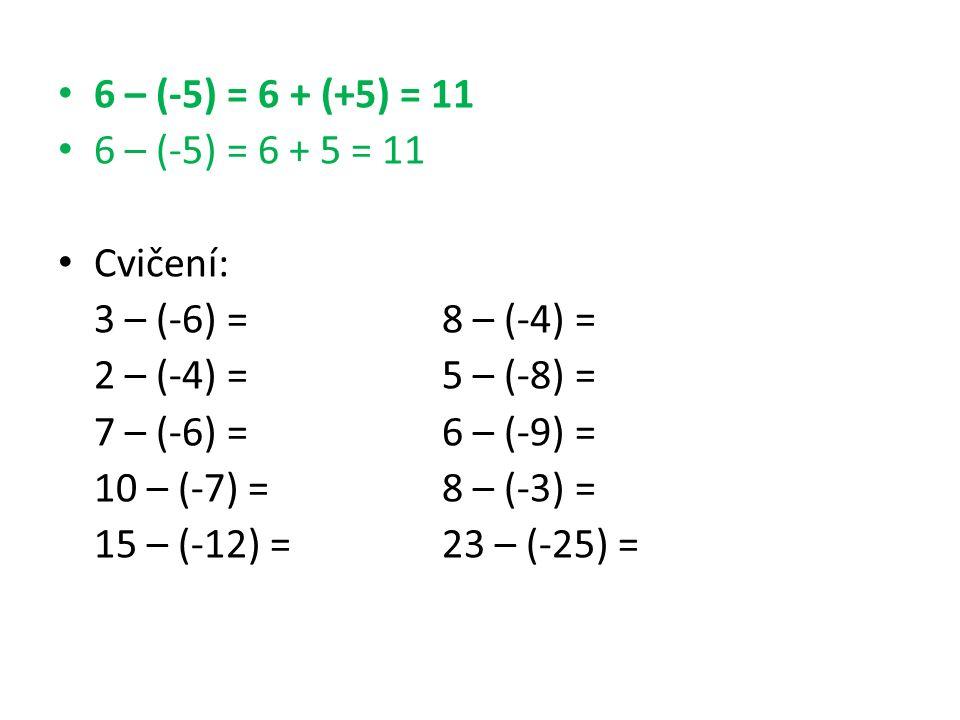 6 – (-5) = 6 + (+5) = 11 6 – (-5) = 6 + 5 = 11 Cvičení: 3 – (-6) =8 – (-4) = 2 – (-4) =5 – (-8) = 7 – (-6) =6 – (-9) = 10 – (-7) =8 – (-3) = 15 – (-12) =23 – (-25) =