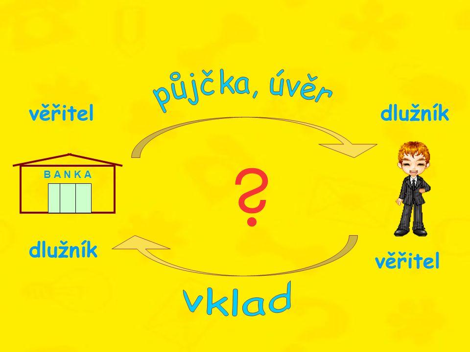 B A N K A věřitel dlužník věřiteldlužník ?