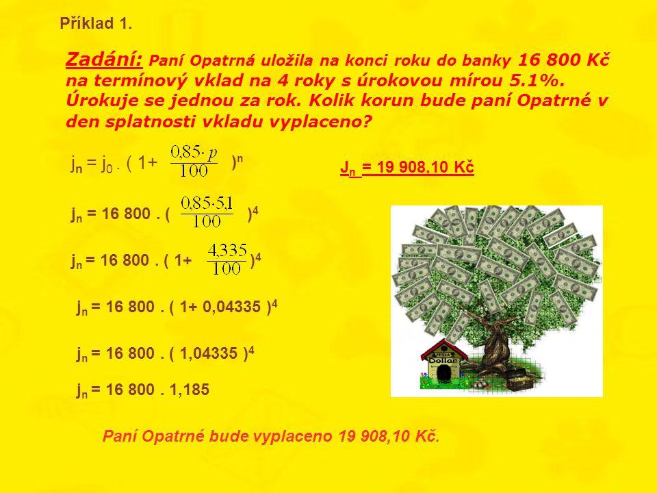 Zadání: Paní Opatrná uložila na konci roku do banky 16 800 Kč na termínový vklad na 4 roky s úrokovou mírou 5.1%. Úrokuje se jednou za rok. Kolik koru