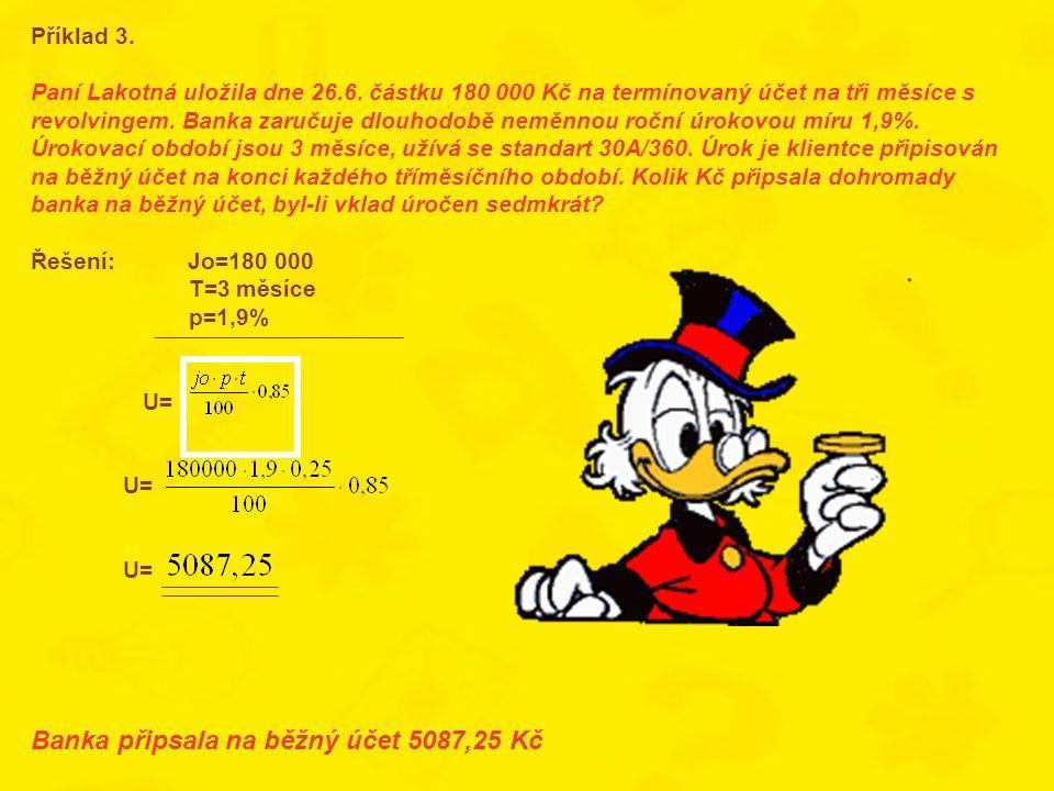 Příklad 3. Paní Lakotná uložila dne 26.6. částku 180 000 Kč na termínovaný účet na tři měsíce s revolvingem. Banka zaručuje dlouhodobě neměnnou roční