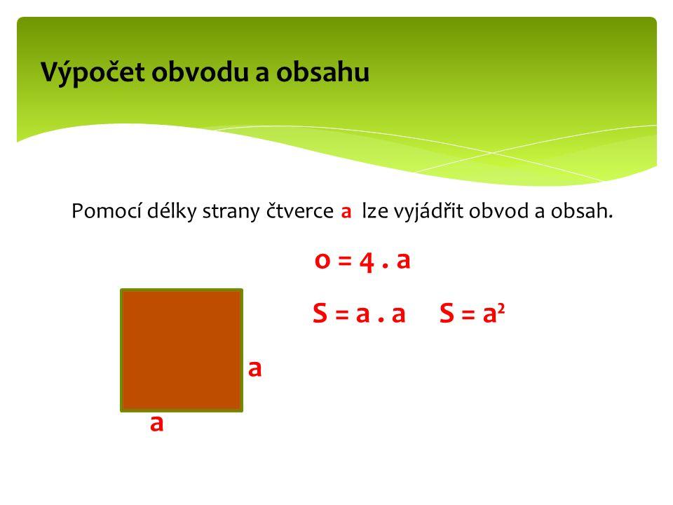 Pomocí délky strany čtverce a lze vyjádřit obvod a obsah.