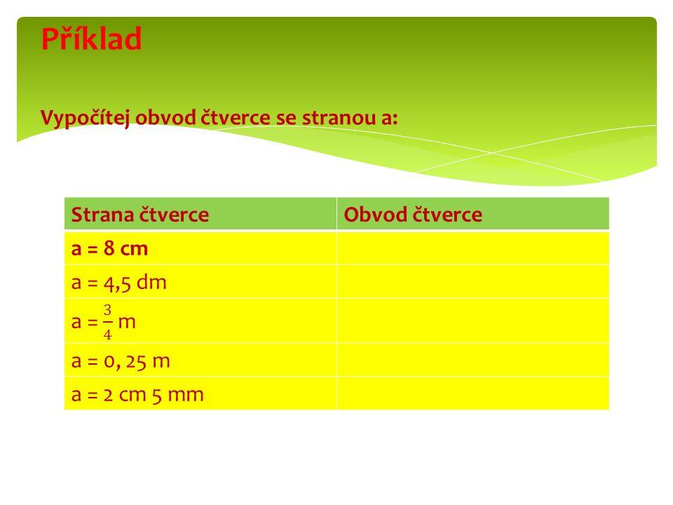 Strana čtverceObvod čtverce a = 8 cm a = 4,5 dm a = 0, 25 m a = 2 cm 5 mm Příklad Vypočítej obvod čtverce se stranou a: