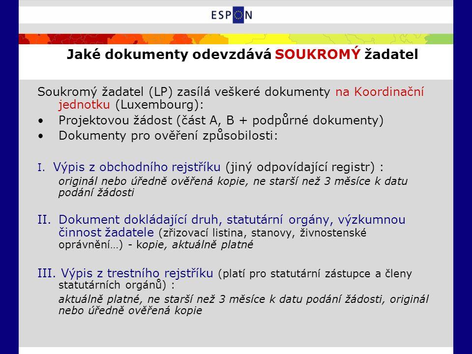 Jaké dokumenty odevzdává SOUKROMÝ žadatel Soukromý žadatel (LP) zasílá veškeré dokumenty na Koordinační jednotku (Luxembourg): Projektovou žádost (část A, B + podpůrné dokumenty) Dokumenty pro ověření způsobilosti: I.