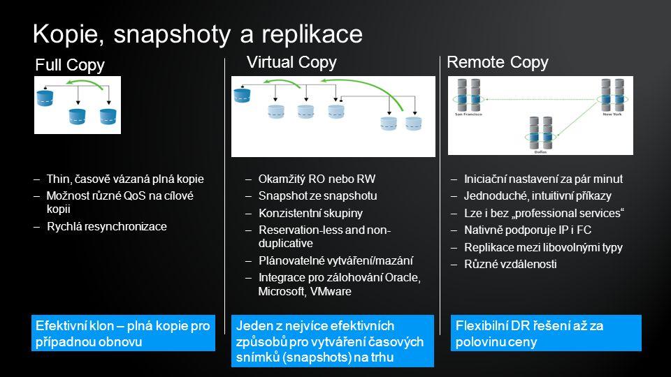"""Kopie, snapshoty a replikace Flexibilní DR řešení až za polovinu ceny Jeden z nejvíce efektivních způsobů pro vytváření časových snímků (snapshots) na trhu Efektivní klon – plná kopie pro případnou obnovu Full Copy Virtual CopyRemote Copy –Okamžitý RO nebo RW –Snapshot ze snapshotu –Konzistentní skupiny –Reservation-less and non- duplicative –Plánovatelné vytváření/mazání –Integrace pro zálohování Oracle, Microsoft, VMware –Iniciační nastavení za pár minut –Jednoduché, intuitivní příkazy –Lze i bez """"professional services –Nativně podporuje IP i FC –Replikace mezi libovolnými typy –Různé vzdálenosti –Thin, časově vázaná plná kopie –Možnost různé QoS na cílové kopii –Rychlá resynchronizace"""