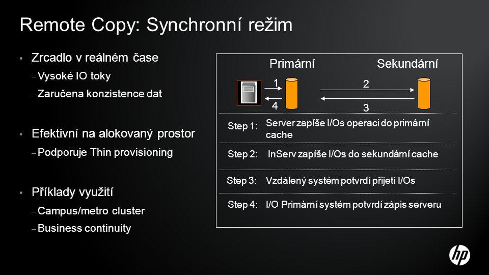 Remote Copy: Synchronní režim Zrcadlo v reálném čase – Vysoké IO toky – Zaručena konzistence dat Efektivní na alokovaný prostor – Podporuje Thin provisioning Příklady využití – Campus/metro cluster – Business continuity Primární Sekundární 1 Server zapíše I/Os operaci do primární cache Step 1: 2 InServ zapíše I/Os do sekundární cache Step 2: 3 Vzdálený systém potvrdí přijetí I/OsStep 3: 4 I/O Primární systém potvrdí zápis serveruStep 4: