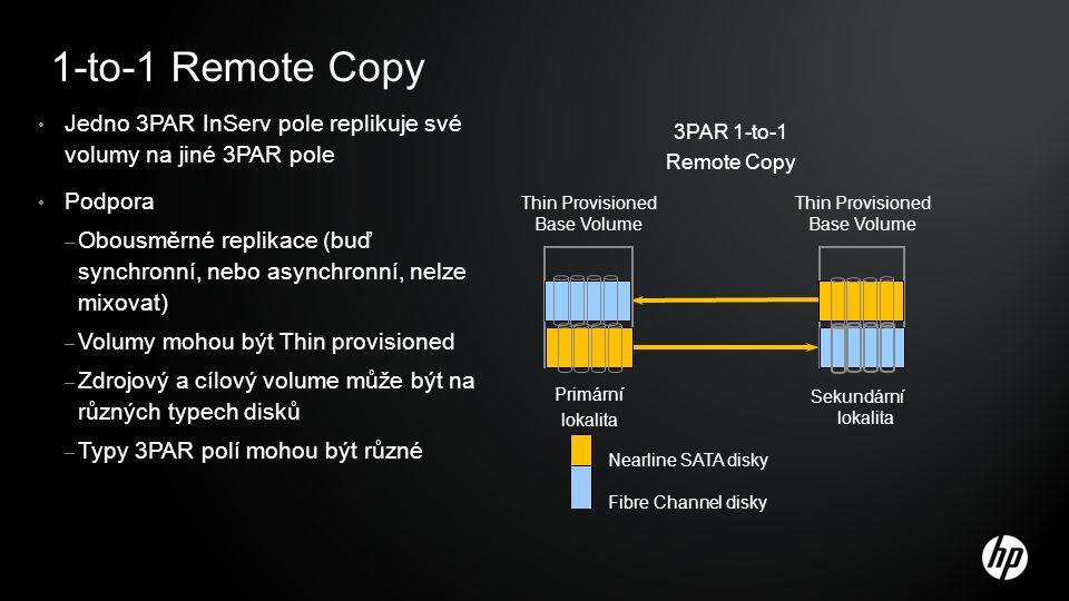 1-to-1 Remote Copy Jedno 3PAR InServ pole replikuje své volumy na jiné 3PAR pole Podpora – Obousměrné replikace (buď synchronní, nebo asynchronní, nelze mixovat) – Volumy mohou být Thin provisioned – Zdrojový a cílový volume může být na různých typech disků – Typy 3PAR polí mohou být různé 3PAR 1-to-1 Remote Copy Thin Provisioned Base Volume Sekundární lokalita Primární lokalita Thin Provisioned Base Volume Nearline SATA disky Fibre Channel disky