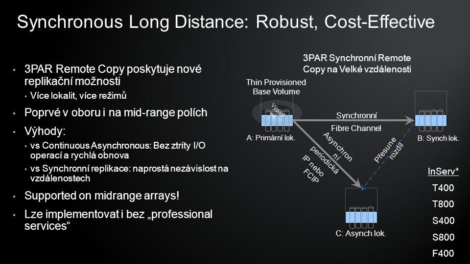 Synchronous Long Distance: Robust, Cost-Effective 3PAR Remote Copy poskytuje nové replikační možnosti Více lokalit, více režimů Poprvé v oboru i na mid-range polích Výhody: vs Continuous Asynchronous: Bez ztríty I/O operací a rychlá obnova vs Synchronní replikace: naprostá nezávislost na vzdálenostech Supported on midrange arrays.
