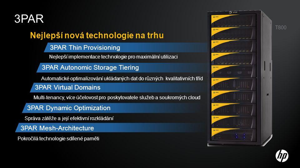 Komponenty 3PAR F řady –Kontrolerový uzel Kapacitní stavební kámen − Diskové magazíny Rozšiřování bez výpadku Standardní hustota –Diskové Chassis (3U) –Full-mesh Back-plane Vysoký výkon - propustnost Naprosto pasivní 3PAR 40U, 19 Cabinet or Customer Provided 2-/4- post Servisní procesor (1U) –Vzdálená detekce chyb –Podpora diagnostiky a správy –Reportování do centrály HP (podpora) Výkonnostní a připojovací stavební kámen −Adapterové karty −Běží nezávislou instanci OS −Rozšiřování bez výpadku