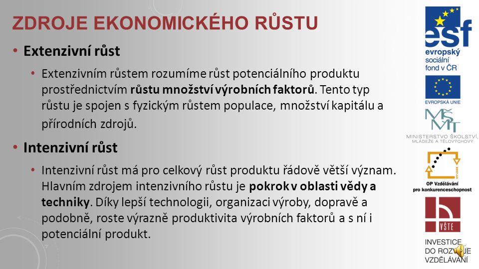 EKONOMICKÝ RŮST V předchozím výkladu jsme definovali potenciální produkt jako jakousi kapacitu ekonomiky. Nyní se zaměříme na jeho změny v čase vlivem