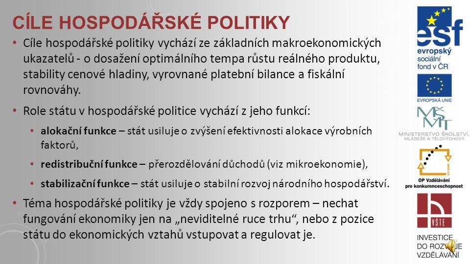 """HOSPODÁŘSKÁ POLITIKA Hospodářskou politiku můžeme definovat jako """"makroekonomicky motivovanou regulaci ekonomických vztahů státem."""" (Dvořák 2005, s. 8"""