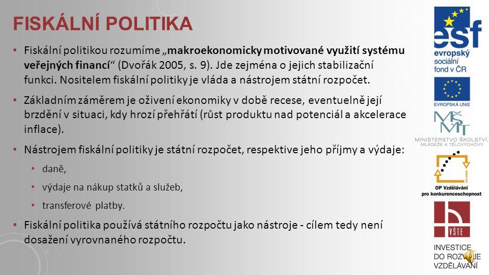 CÍLE HOSPODÁŘSKÉ POLITIKY Cíle hospodářské politiky vychází ze základních makroekonomických ukazatelů - o dosažení optimálního tempa růstu reálného pr