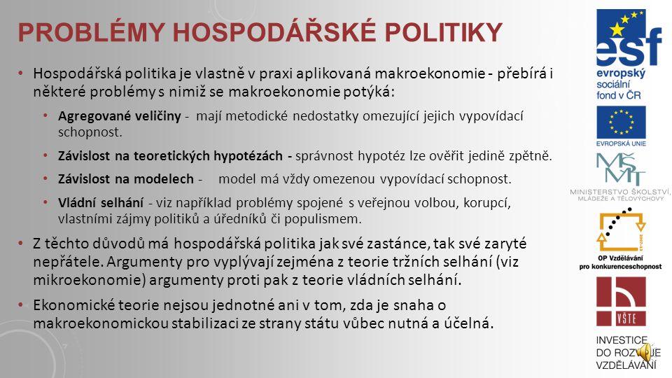 EXPANZIVNÍ A RESTRIKTIVNÍ POLITIKA Expanzivní politikou rozumíme takový druh opatření, která vedou k růstu produktu a zprostředkovaně také k poklesu n