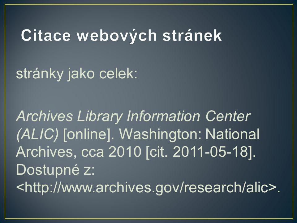 stránky jako celek: Archives Library Information Center (ALIC) [online].
