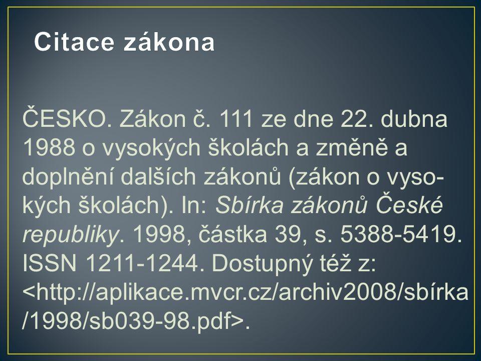 ČESKO. Zákon č. 111 ze dne 22.
