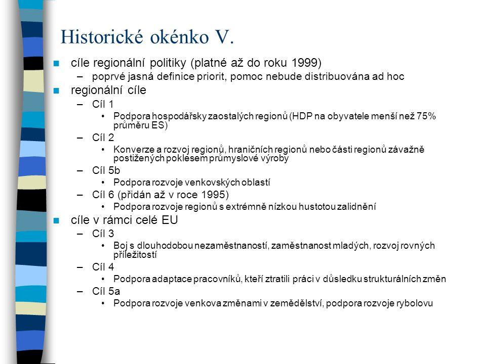 cíle regionální politiky (platné až do roku 1999) –poprvé jasná definice priorit, pomoc nebude distribuována ad hoc regionální cíle –Cíl 1 Podpora hos