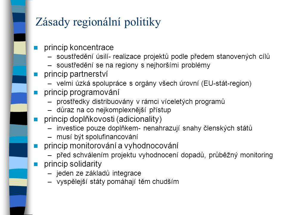 princip koncentrace –soustředění úsilí- realizace projektů podle předem stanovených cílů –soustředění se na regiony s nejhoršími problémy princip part