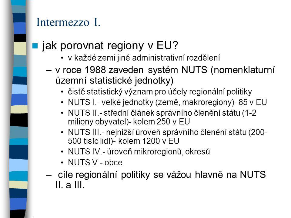 jak porovnat regiony v EU? v každé zemi jiné administrativní rozdělení –v roce 1988 zaveden systém NUTS (nomenklaturní územní statistické jednotky) či