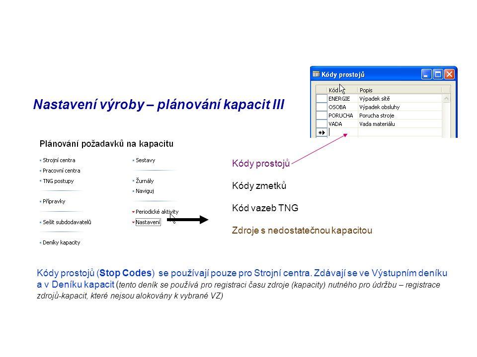 Nastavení výroby – plánování kapacit III Kódy prostojů Kódy zmetků Kód vazeb TNG Zdroje s nedostatečnou kapacitou Kódy prostojů (Stop Codes) se používají pouze pro Strojní centra.