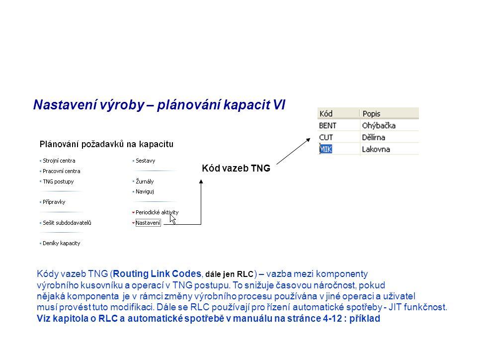 Nastavení výroby – plánování kapacit VI Kód vazeb TNG Kódy vazeb TNG (Routing Link Codes, dále jen RLC ) – vazba mezi komponenty výrobního kusovníku a operací v TNG postupu.