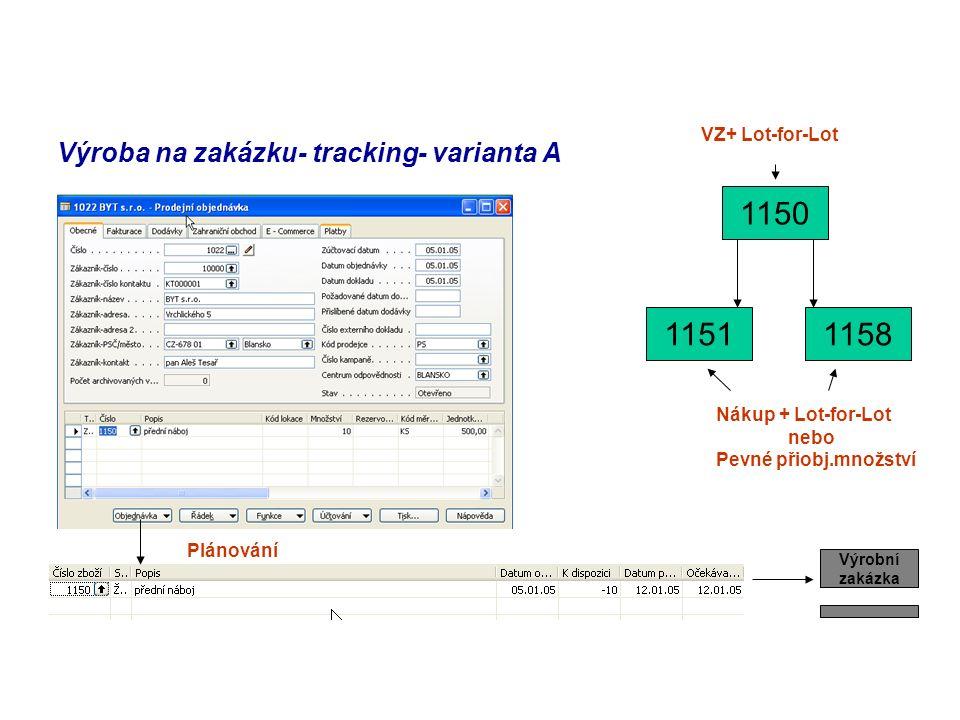 Výroba na zakázku- tracking- varianta A 1150 11511158 Plánování Výrobní zakázka VZ+ Lot-for-Lot Nákup + Lot-for-Lot nebo Pevné přiobj.množství