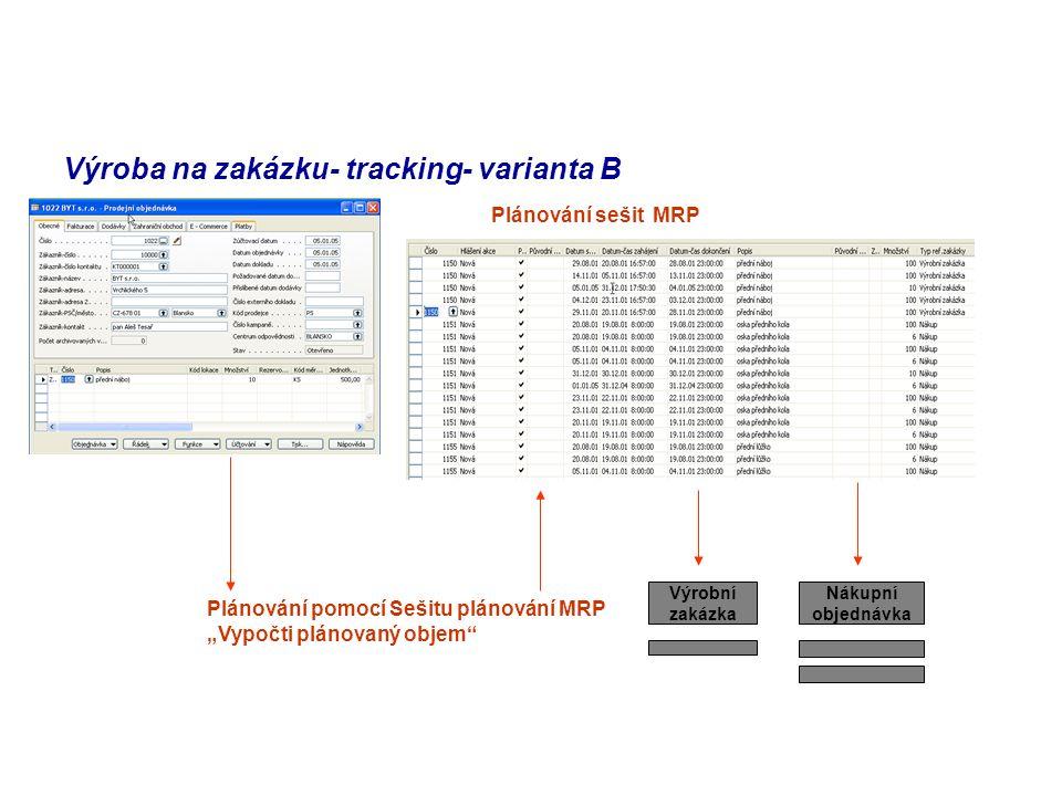 """Výroba na zakázku- tracking- varianta B Plánování pomocí Sešitu plánování MRP """"Vypočti plánovaný objem Výrobní zakázka Nákupní objednávka Plánování sešit MRP"""
