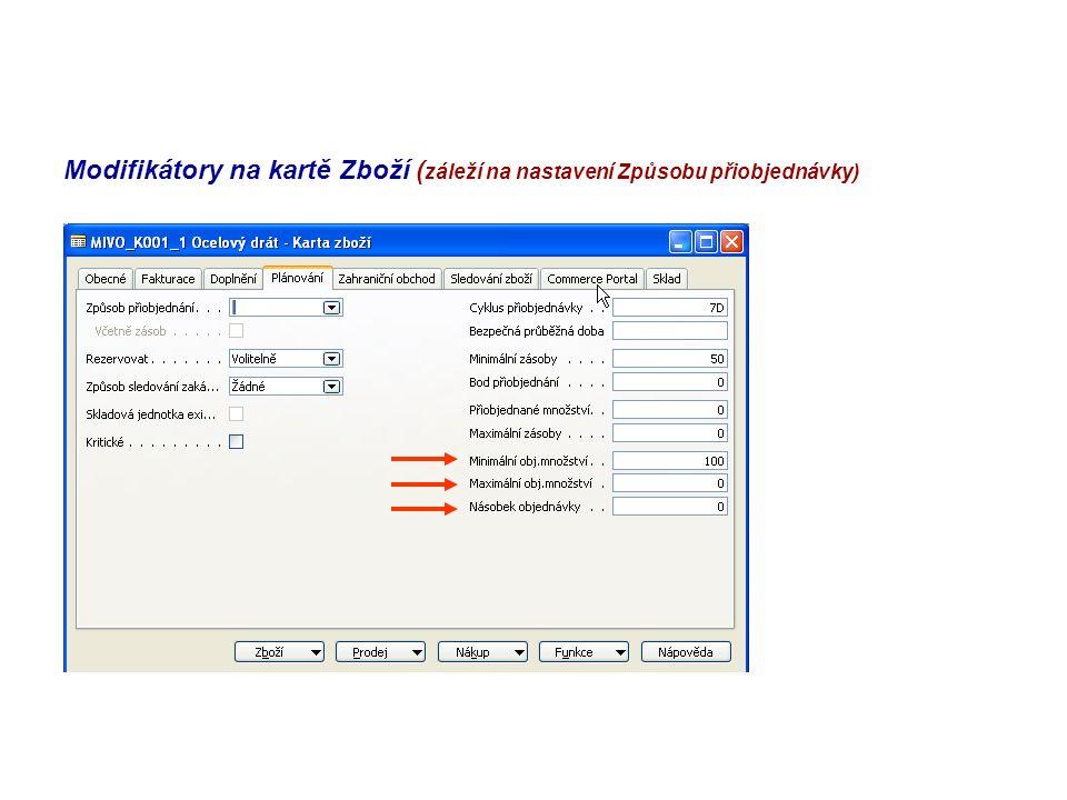 Modifikátory na kartě Zboží ( záleží na nastavení Způsobu přiobjednávky)