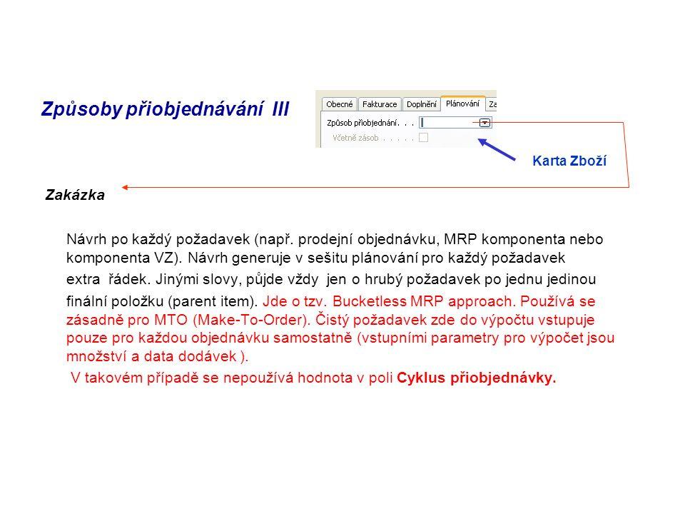Způsoby přiobjednávání III Zakázka Návrh po každý požadavek (např.