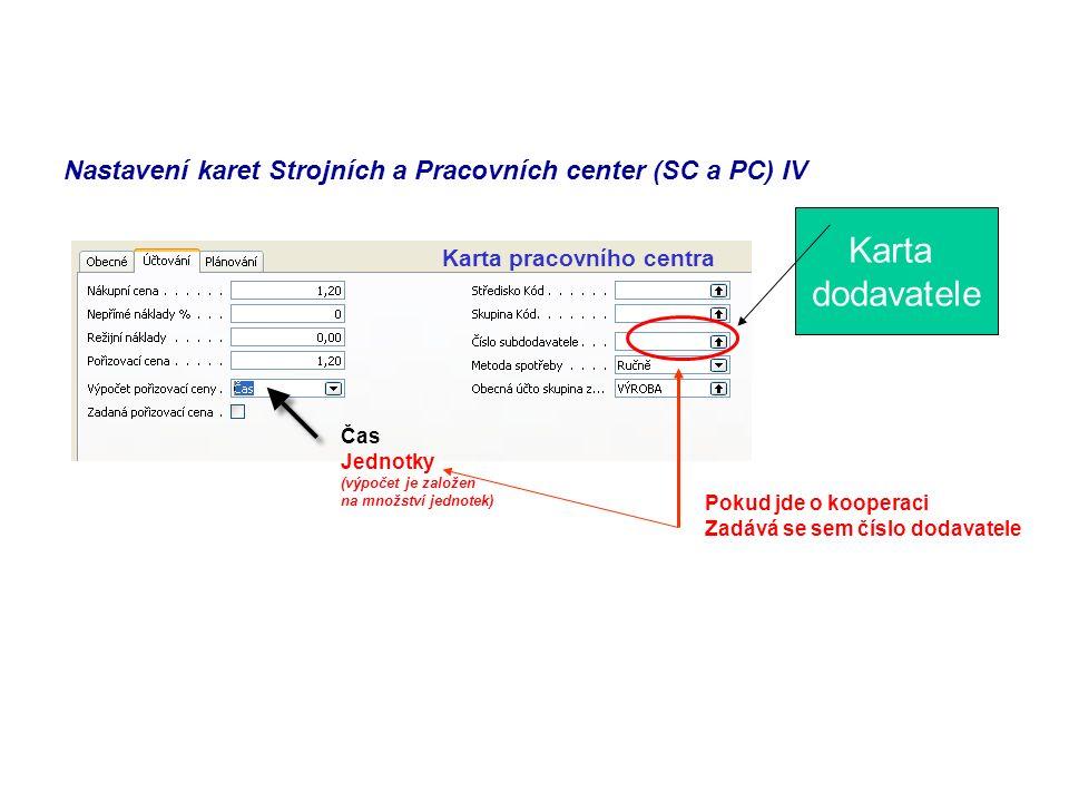 Nastavení karet Strojních a Pracovních center (SC a PC) IV Karta pracovního centra Čas Jednotky (výpočet je založen na množství jednotek) Pokud jde o