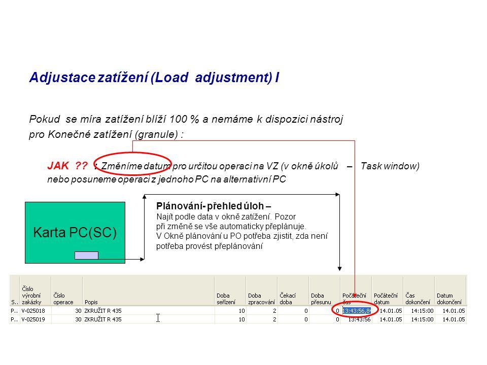 Adjustace zatížení (Load adjustment) I Pokud se míra zatížení blíží 100 % a nemáme k dispozici nástroj pro Konečné zatížení (granule) : JAK ?? : Změní