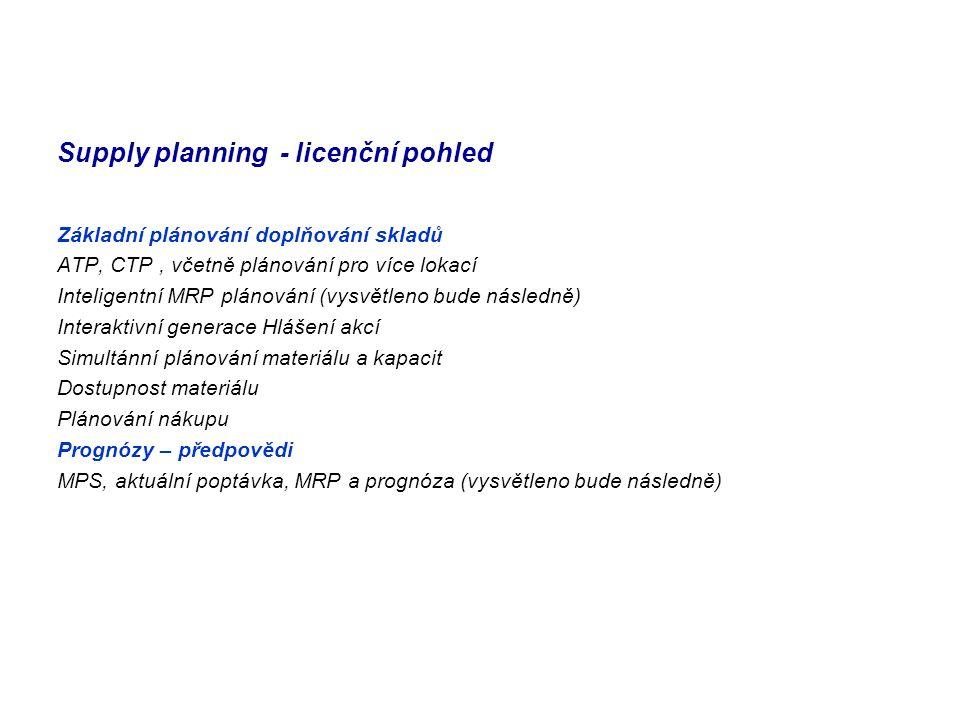 Supply planning - licenční pohled Základní plánování doplňování skladů ATP, CTP, včetně plánování pro více lokací Inteligentní MRP plánování (vysvětle