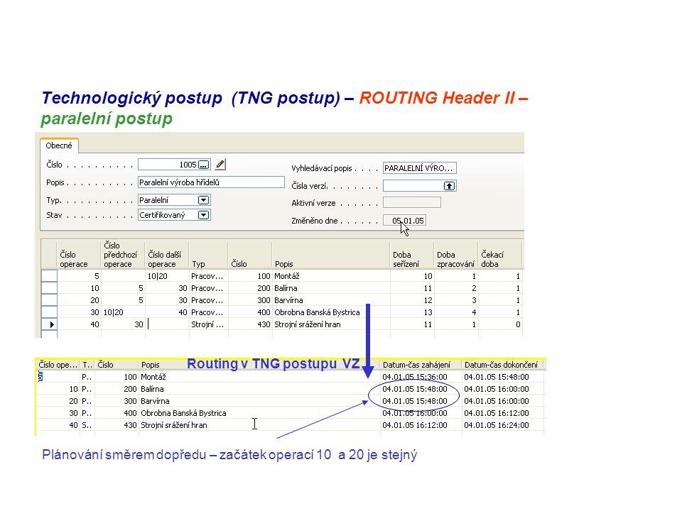 Technologický postup (TNG postup) – ROUTING Header II – paralelní postup Routing v TNG postupu VZ Plánování směrem dopředu – začátek operací 10 a 20 je stejný