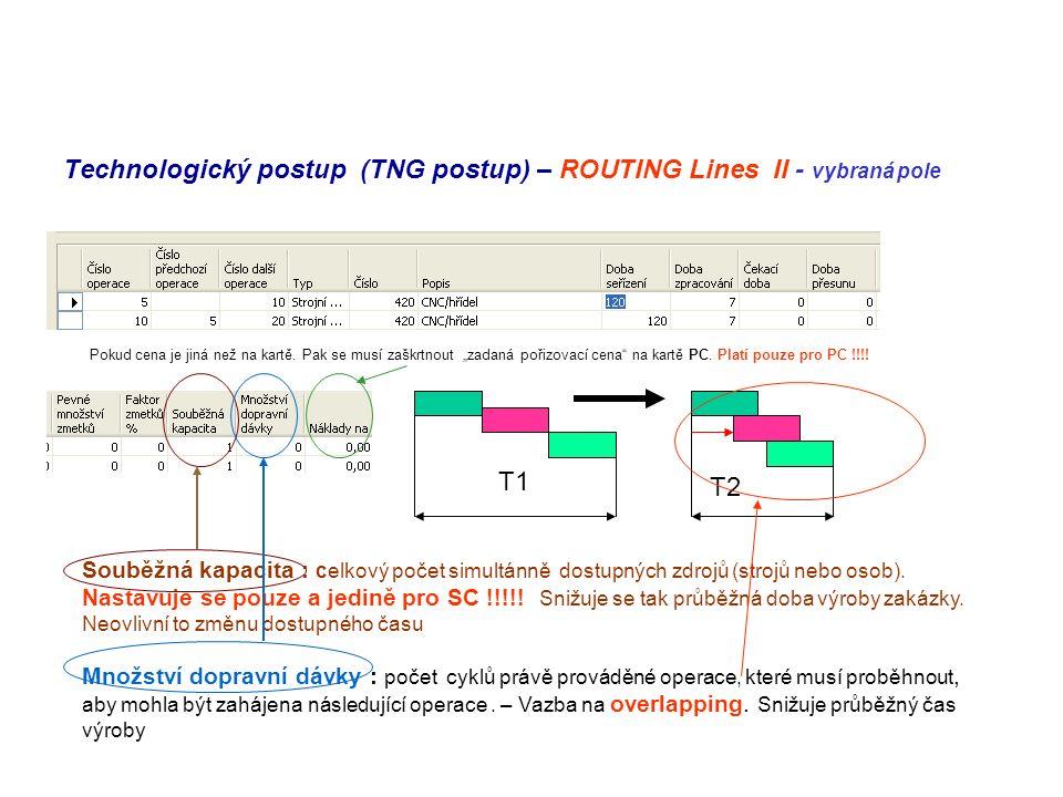 Technologický postup (TNG postup) – ROUTING Lines II - vybraná pole Souběžná kapacita : celkový počet simultánně dostupných zdrojů (strojů nebo osob).