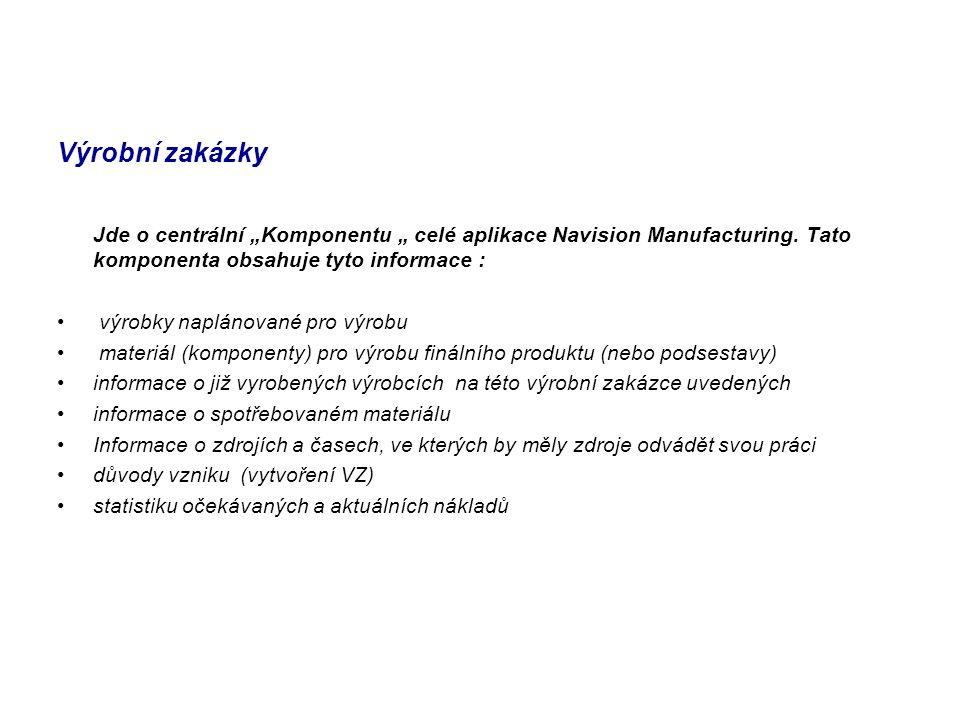 """Výrobní zakázky Jde o centrální """"Komponentu """" celé aplikace Navision Manufacturing. Tato komponenta obsahuje tyto informace : výrobky naplánované pro"""