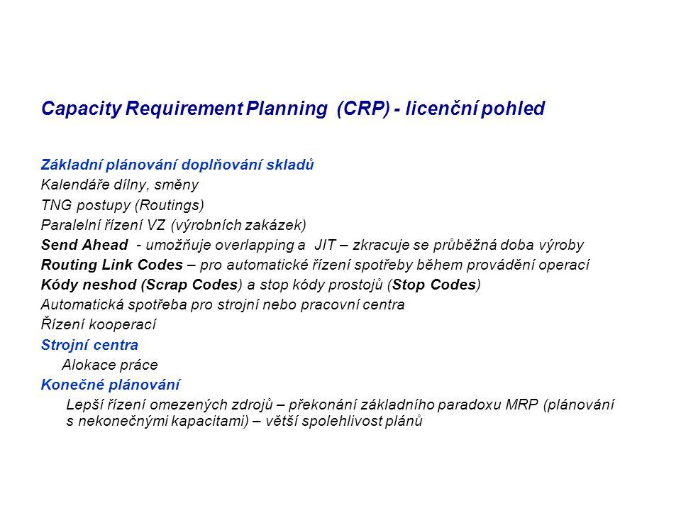 Capacity Requirement Planning (CRP) - licenční pohled Základní plánování doplňování skladů Kalendáře dílny, směny TNG postupy (Routings) Paralelní říz