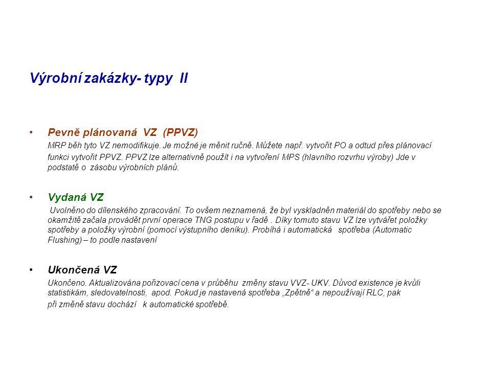 Výrobní zakázky- typy II Pevně plánovaná VZ (PPVZ) MRP běh tyto VZ nemodifikuje. Je možné je měnit ručně. Můžete např. vytvořit PO a odtud přes plánov