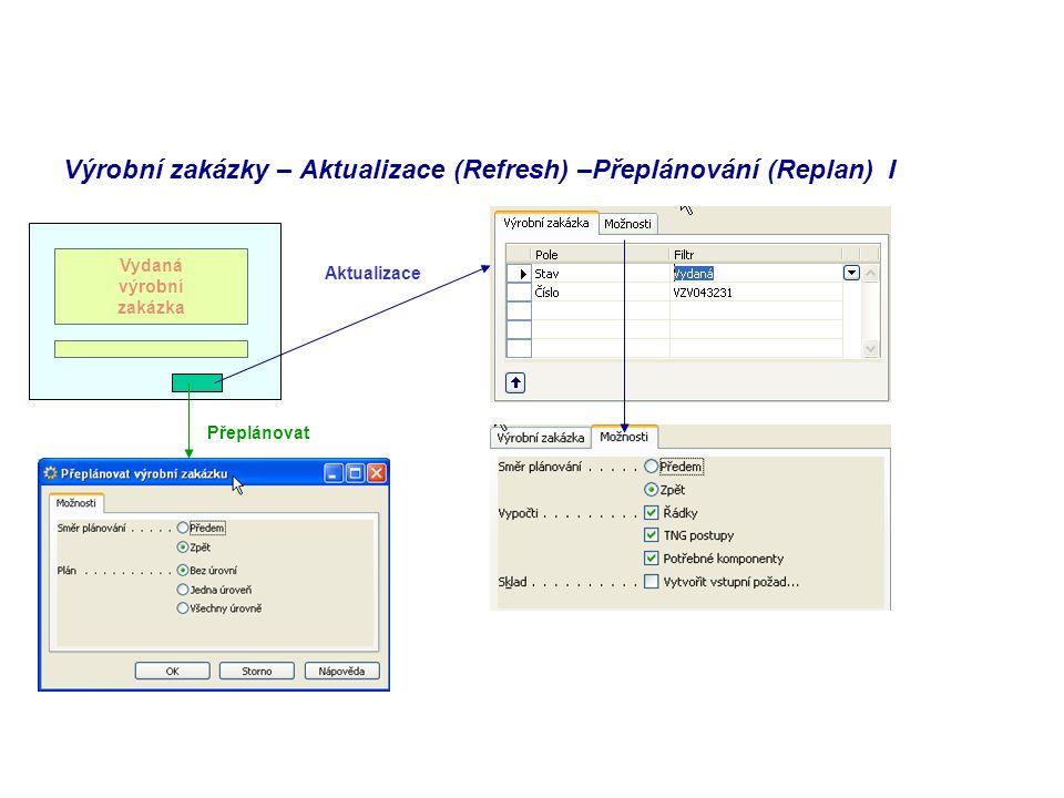 Výrobní zakázky – Aktualizace (Refresh) –Přeplánování (Replan) I Vydaná výrobní zakázka Přeplánovat Aktualizace