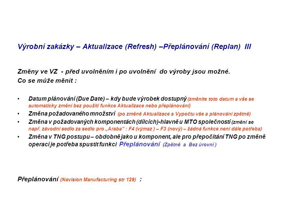 Výrobní zakázky – Aktualizace (Refresh) –Přeplánování (Replan) III Změny ve VZ - před uvolněním i po uvolnění do výroby jsou možné.