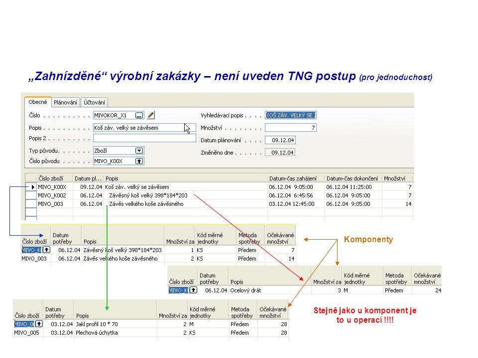 """""""Zahnízděné"""" výrobní zakázky – není uveden TNG postup (pro jednoduchost) Komponenty Stejně jako u komponent je to u operací !!!!"""