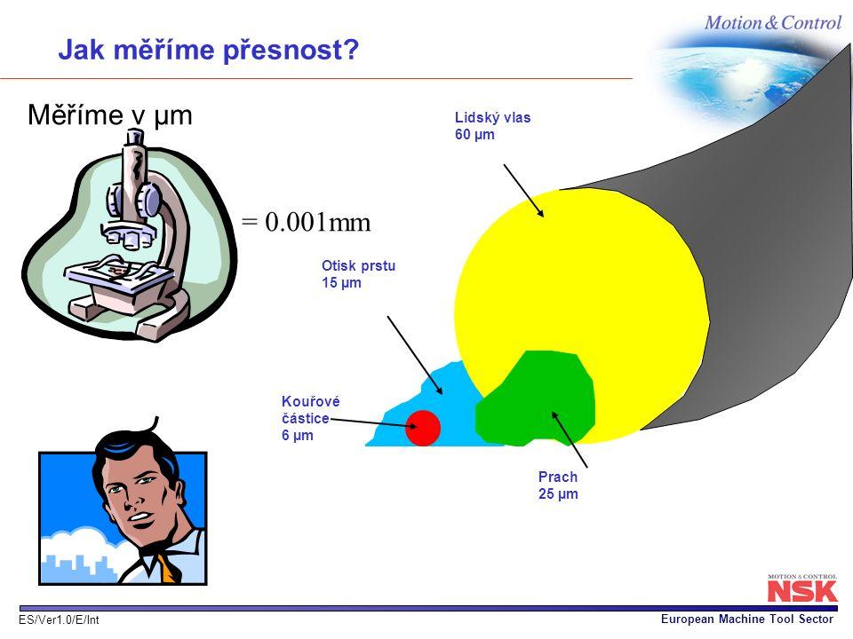 European Machine Tool Sector ES/Ver1.0/E/Int Otisk prstu 15 µm Jak měříme přesnost? Měříme v µm = 0.001mm Lidský vlas 60 µm Prach 25 µm Kouřové částic