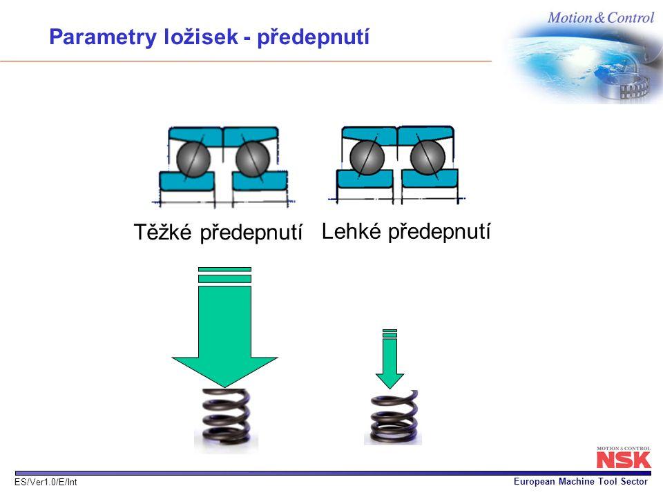 European Machine Tool Sector ES/Ver1.0/E/Int Lehké předepnutí Těžké předepnutí Parametry ložisek - předepnutí