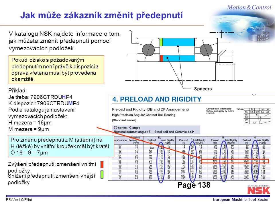 European Machine Tool Sector ES/Ver1.0/E/Int Jak může zákazník změnit předepnutí V katalogu NSK najdete informace o tom, jak můžete změnit předepnutí