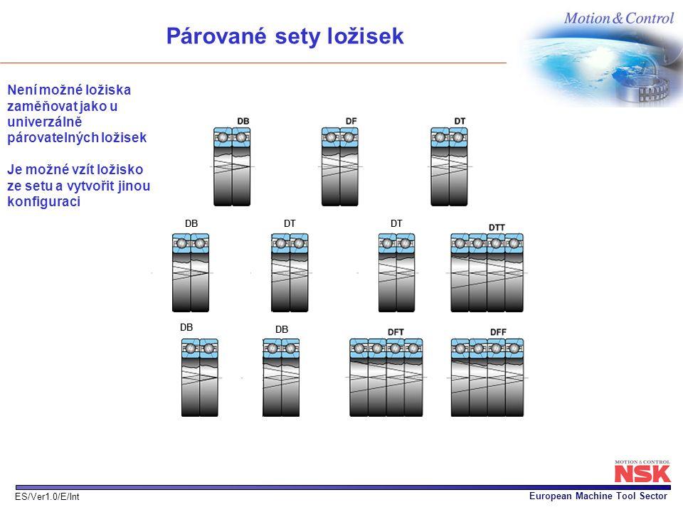 European Machine Tool Sector ES/Ver1.0/E/Int DB DT DBDDB DBD DB Párované sety ložisek Není možné ložiska zaměňovat jako u univerzálně párovatelných lo